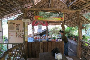 A roadside cafe selling locally grown, organic coffee