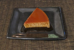Coffee flan served on Oaxacan black pottery