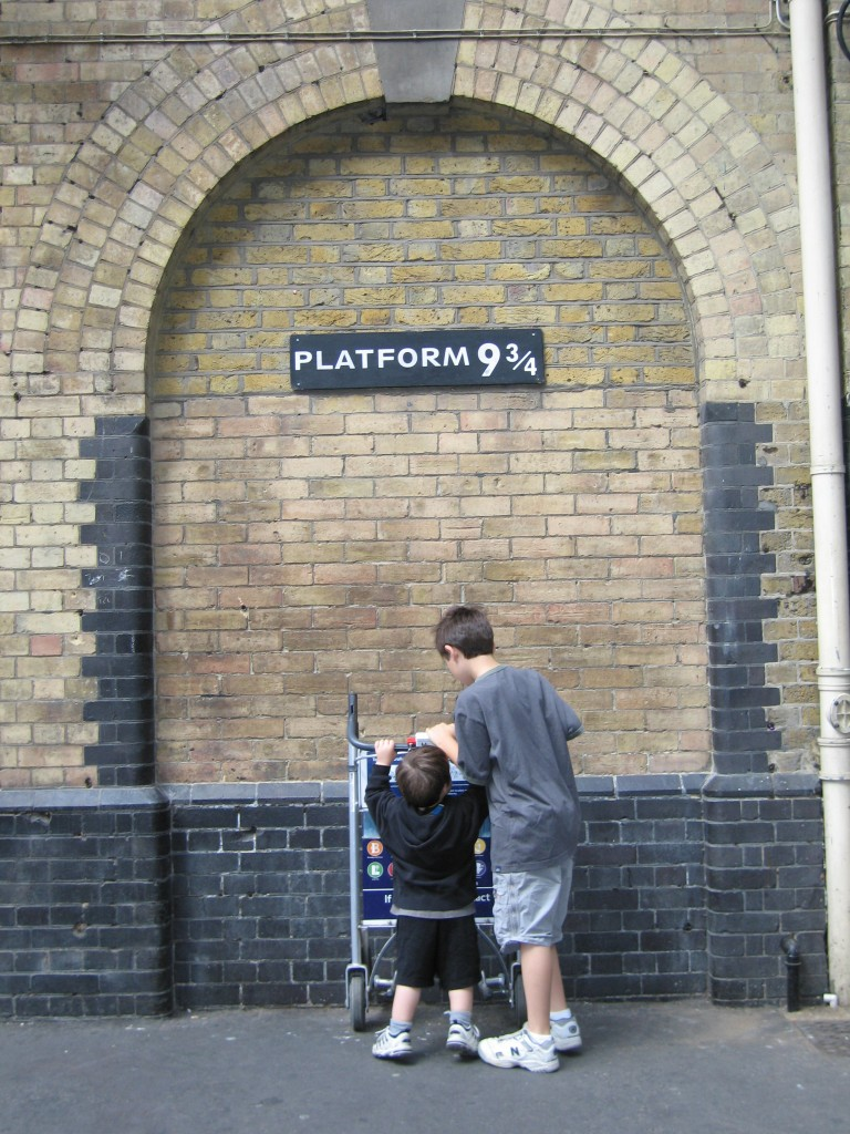 Helping an underage wizard get through the barrier to Platform 9 3/4, Kings Cross Station, London